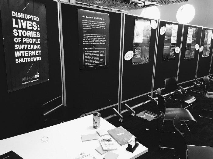 Photograph of the exhibition of the Internet Shutdown Stories.