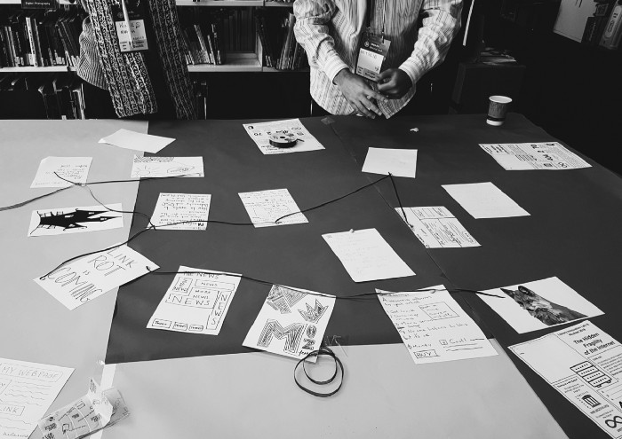 Photograph of the web pages we drew on paper being linked to each other.