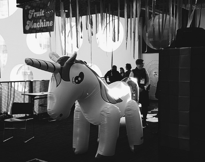 Photograph of the famous unicorn from the awesome Queering MozFest space.