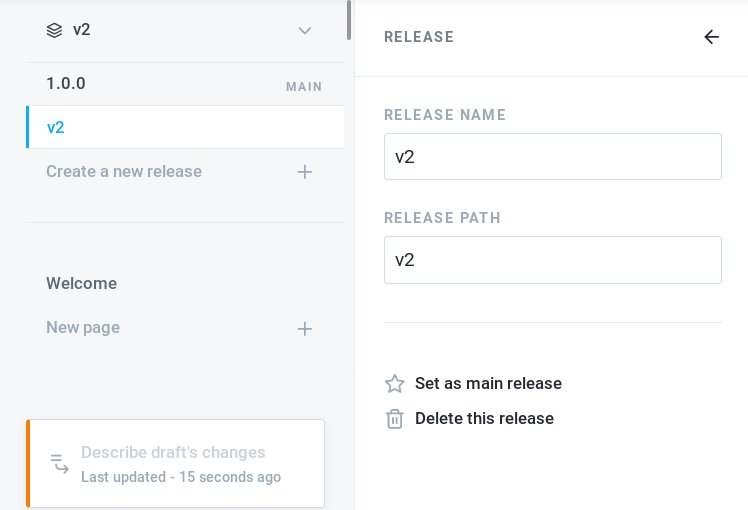 GitBook's interface showing that our documentation has two releases: version 1.0.0 and v2