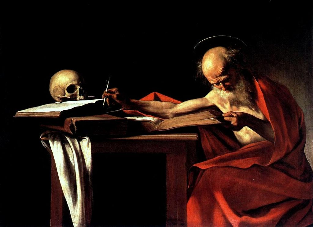 """Saint Jerome"", by Caravaggio. The painting depicts Saint Jerome, a Doctor of the Church in Roman Catholicism and a popular subject for painting, even for Caravaggio, who produced other paintings of Jerome in Meditation and engaged in writing. In this image, Jerome is reading intently, an outstretched arm resting with quill. It has been suggested that Jerome is depicted in the act of translating the Vulgate."
